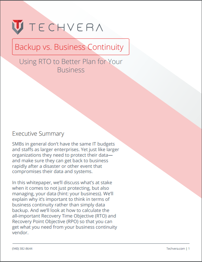 Backup Versus Business Continuity